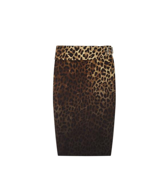 BELTED JAGUAR SABLE PENCIL SKIRT A fullsize