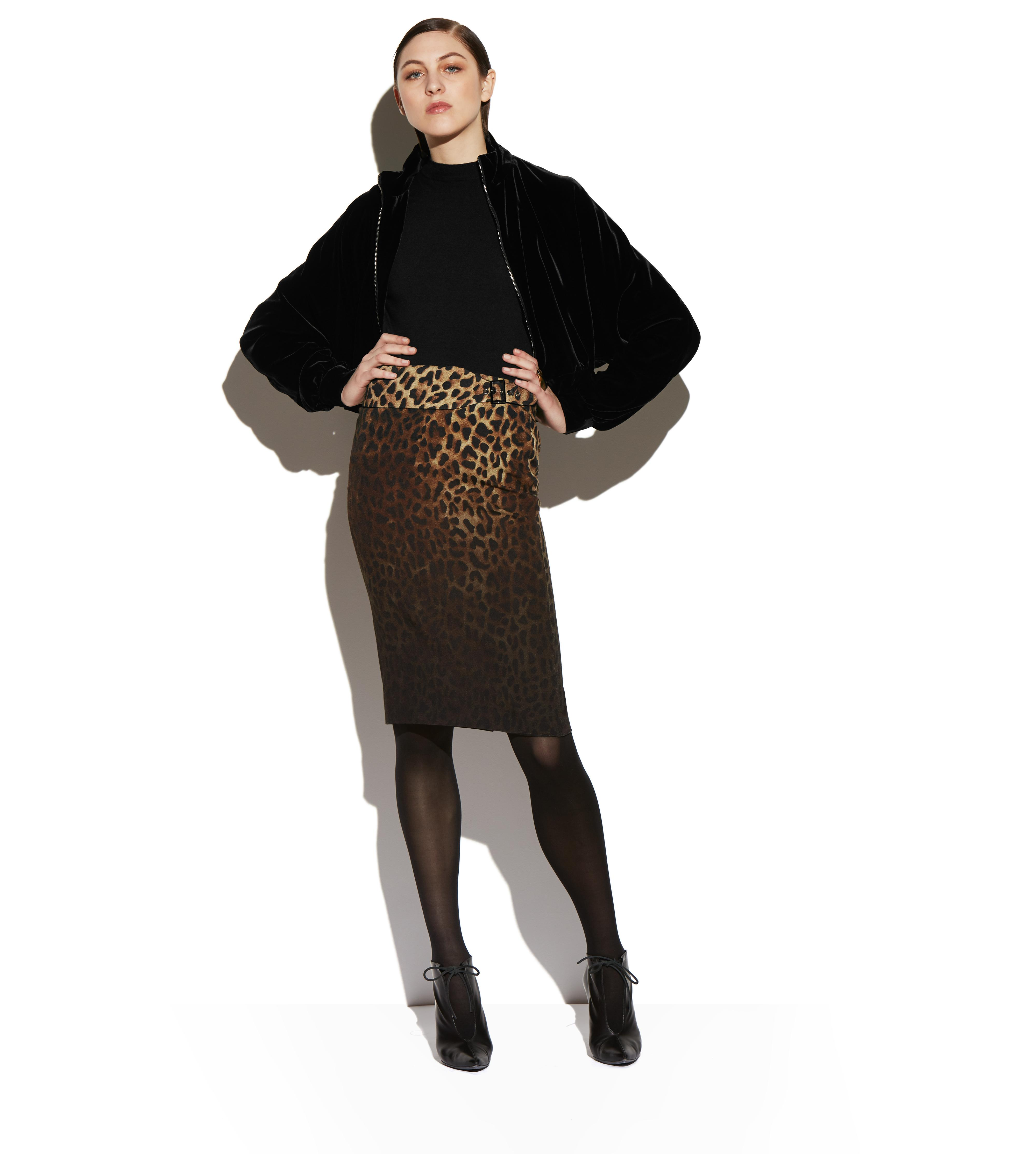 BELTED JAGUAR SABLE PENCIL SKIRT C thumbnail
