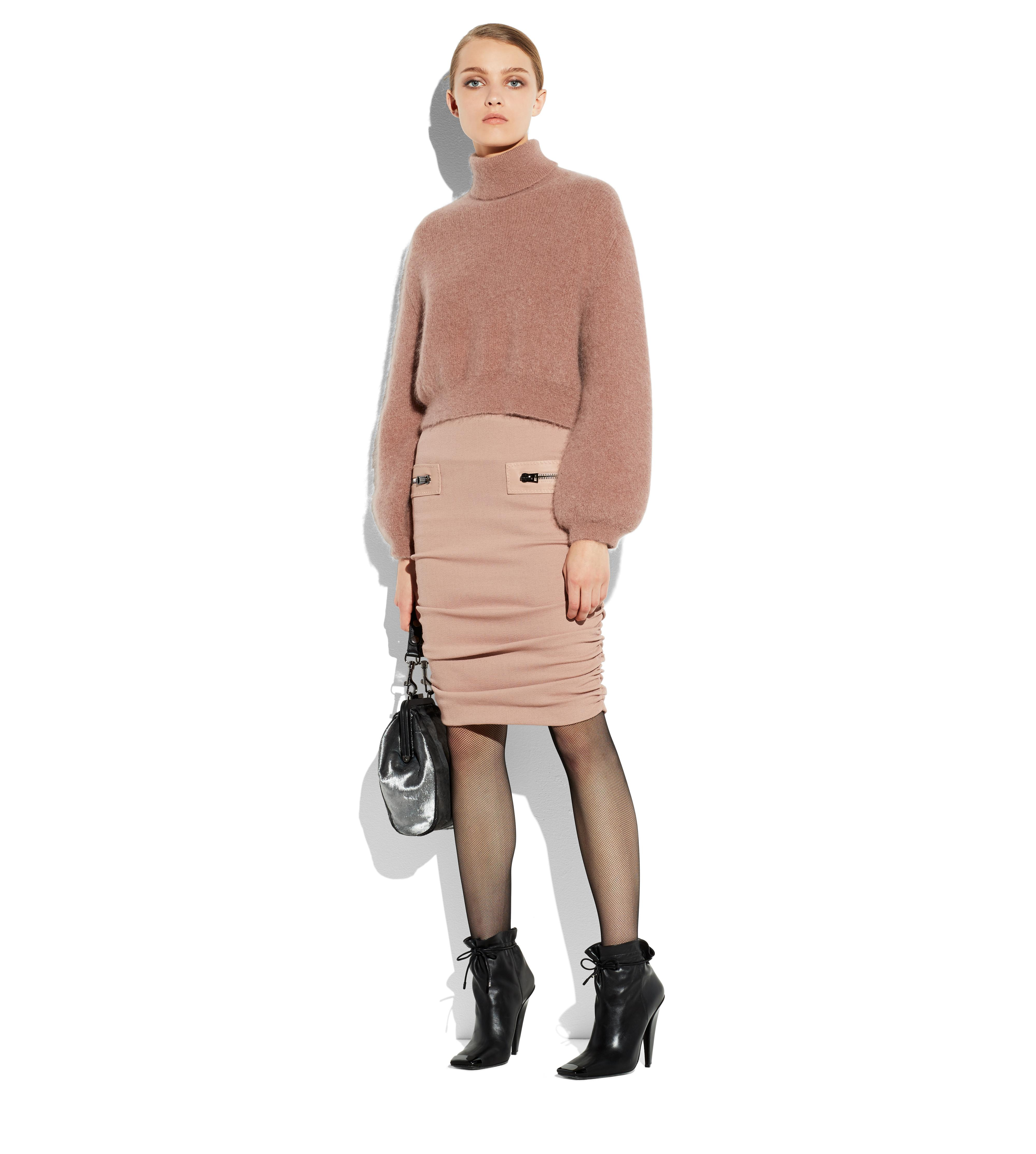 RUCHED WOOL PENCIL SKIRT WITH ZIPS B thumbnail