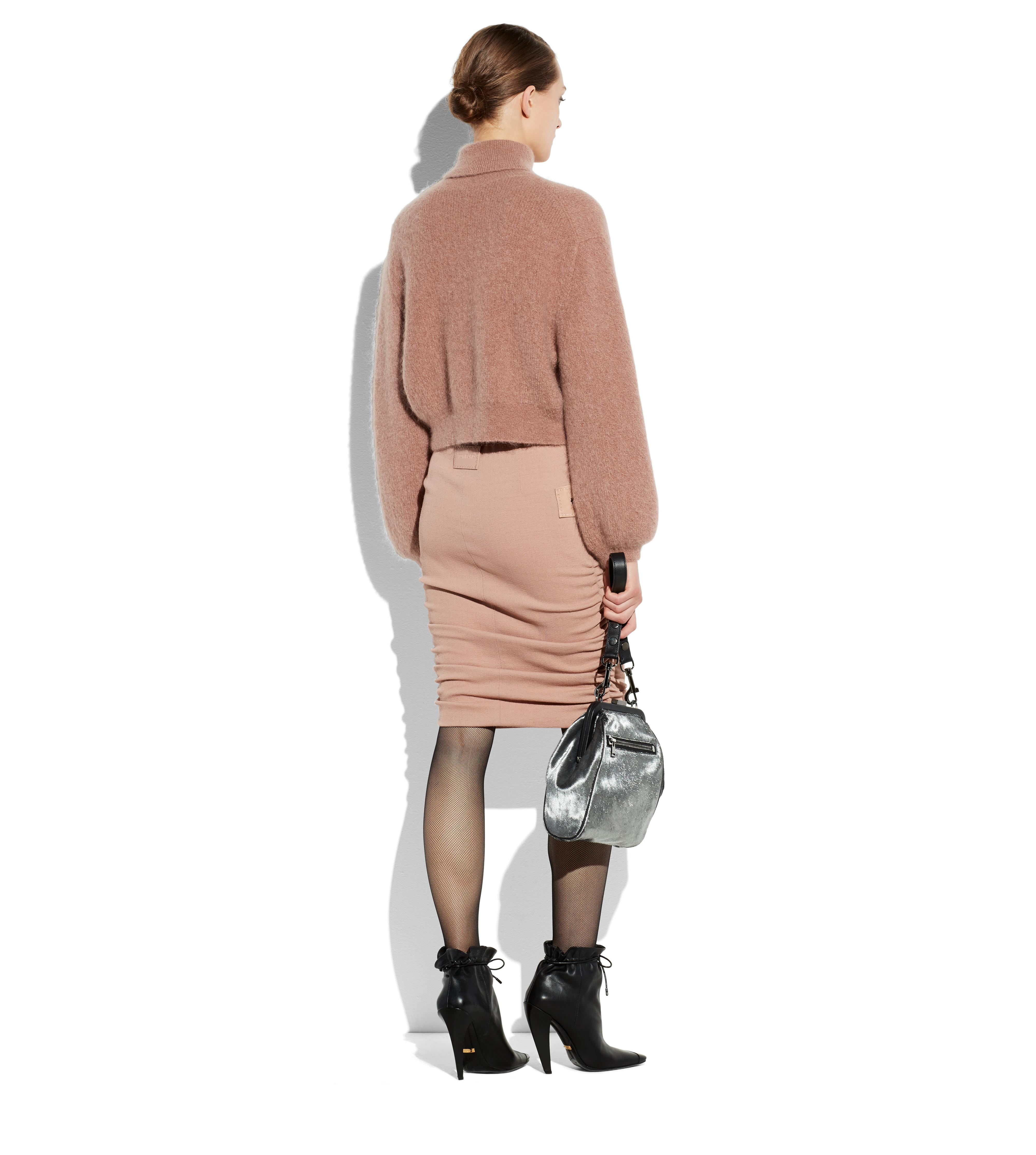 RUCHED WOOL PENCIL SKIRT WITH ZIPS C thumbnail