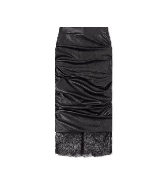 FAUX LEATHER RUCHED SKIRT A fullsize