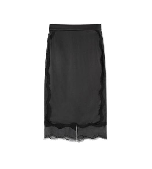 SILK SLIP SKIRT WITH TULLE