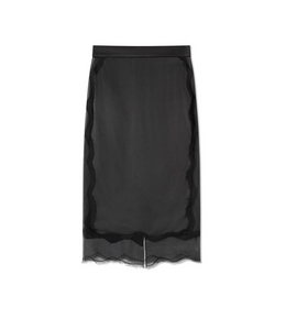 1335210090 SILK SLIP SKIRT WITH TULLE