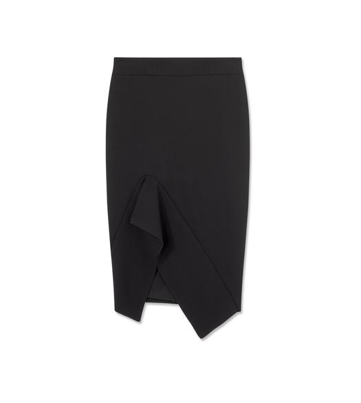 STRETCH WOOL FLUTED SKIRT