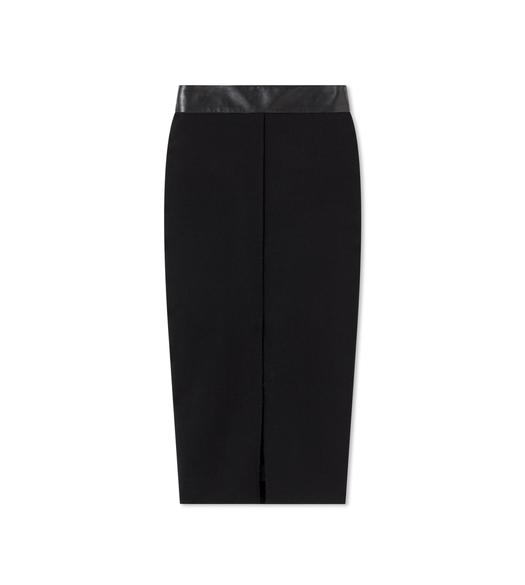 STRETCH WOOL SKIRT WITH LEATHER WAISTBAND
