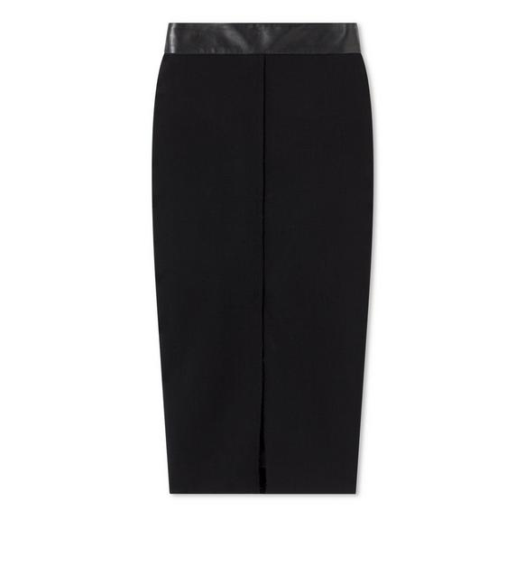STRETCH WOOL SKIRT WITH LEATHER WAISTBAND A fullsize