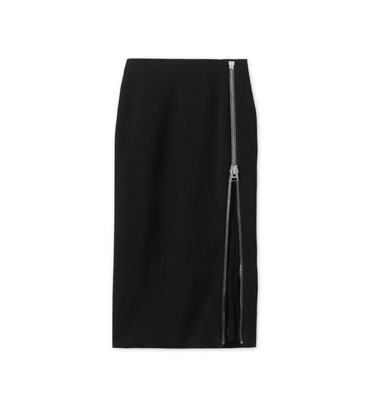 CADY STRETCH PENCIL SKIRT WITH SHEER INSERT
