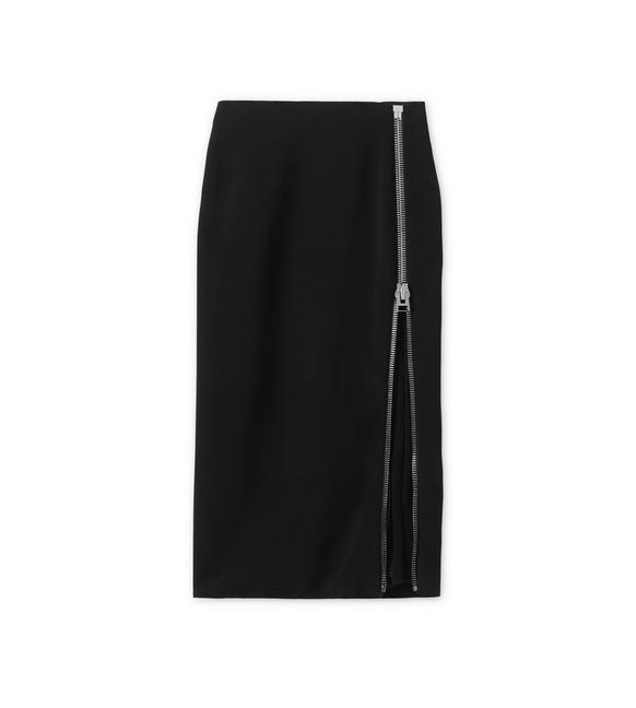 CADY STRETCH PENCIL SKIRT WITH SHEER INSERT A fullsize