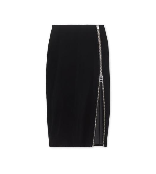 COTTON VELVET PENCIL SKIRT WITH SHEER INSERT
