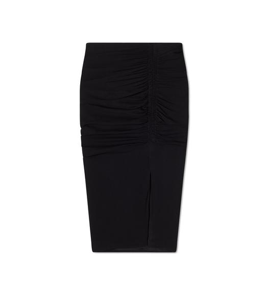 STRETCH SABLE RUCHED PENCIL SKIRT