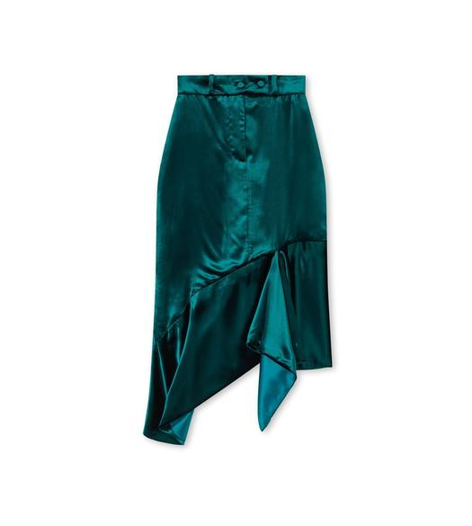 VISCOSE VELVET ASYMMETRICAL MIDI SKIRT