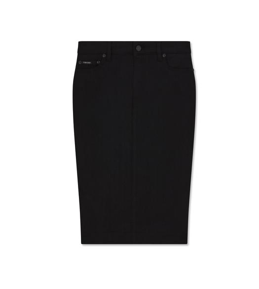 STRETCH BLACK DENIM PENCIL SKIRT