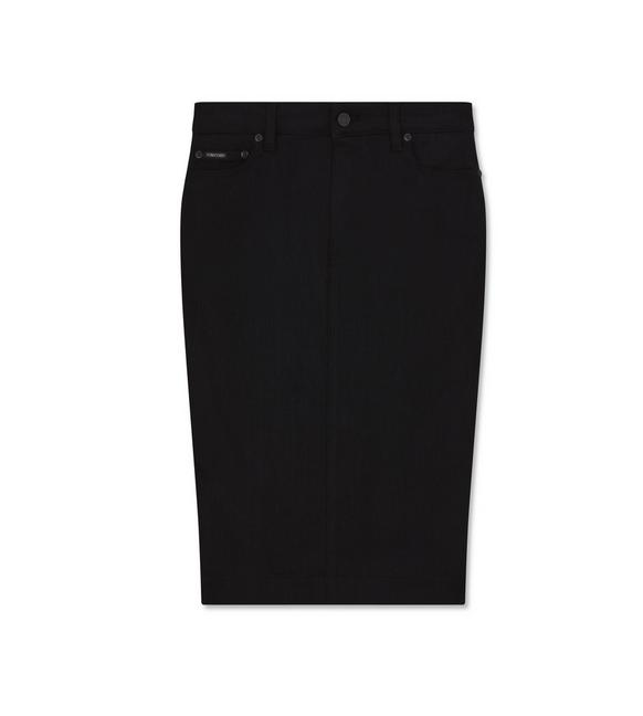 STRETCH BLACK DENIM PENCIL SKIRT A fullsize
