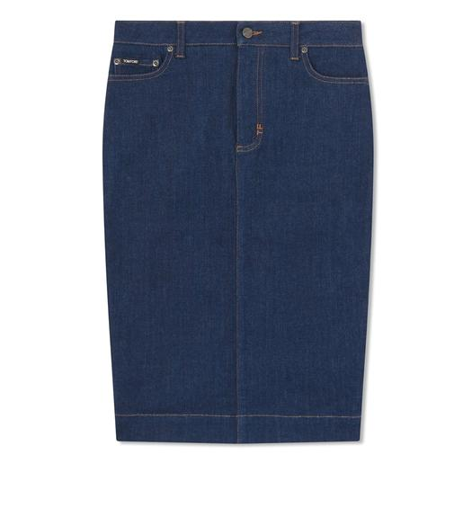STRETCH INDIGO DENIM PENCIL SKIRT
