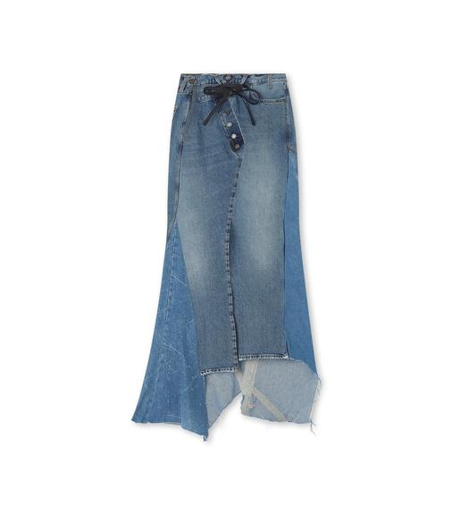PATCHWORK DENIM ASYMMETRICAL LONG SKIRT