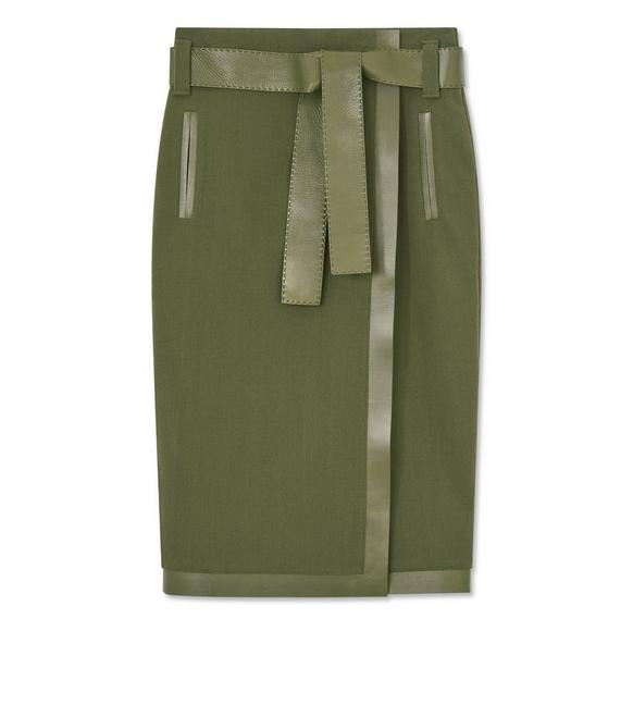 STRETCH WOOL BELTED WRAP SKIRT WITH LEATHER DETAILS A fullsize