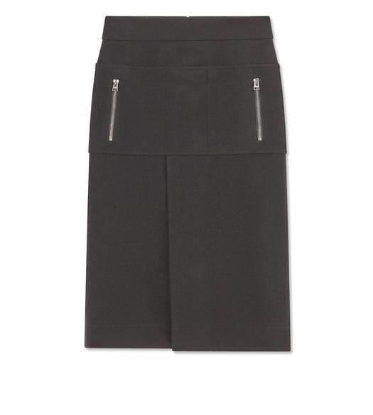 STRETCH WOOL PATCH POCKET SKIRT