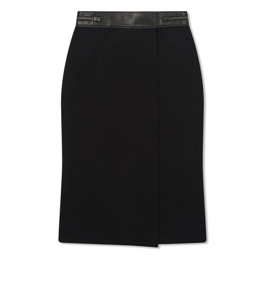 STRETCH WOOL WRAP SKIRT