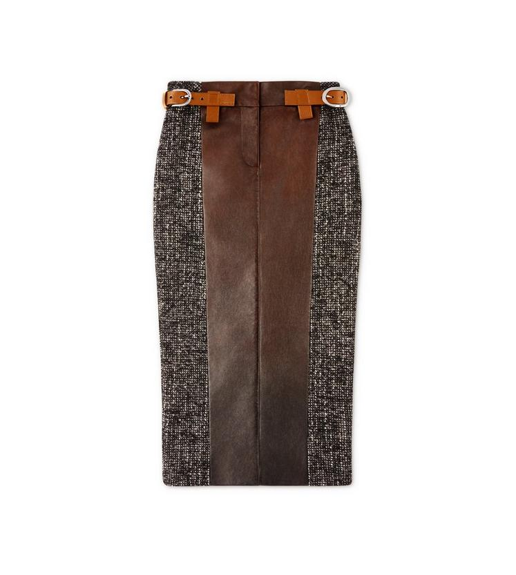 COUTURE TWEED MIDI SKIRT WITH FRONT LEATHER PANEL A fullsize