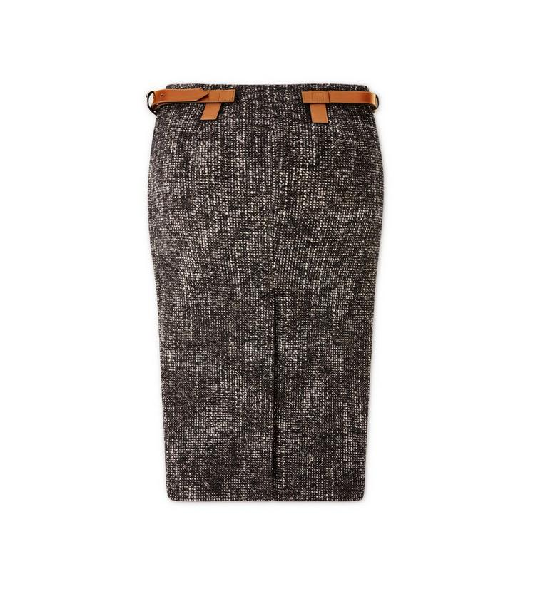 COUTURE TWEED MIDI SKIRT WITH FRONT LEATHER PANEL B fullsize