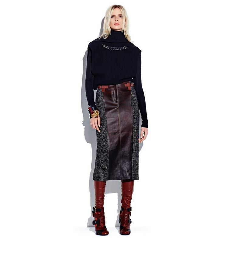 COUTURE TWEED MIDI SKIRT WITH FRONT LEATHER PANEL L fullsize