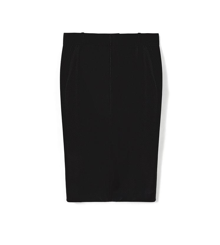 PERFORATED LEATHER PENCIL SKIRT A fullsize