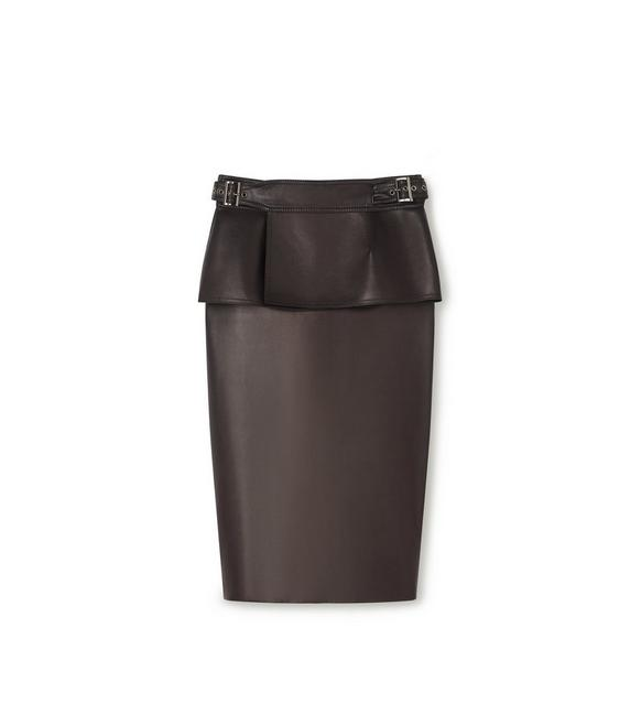 LEATHER PENCIL SKIRT WITH PEPLUM BELT A fullsize