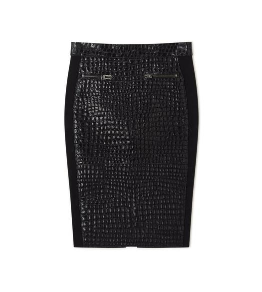CROCODILE EMBOSSED SKIRT