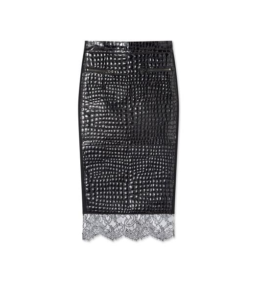 CROCO EMBOSSED LEATHER PENCIL SKIRT 91e9267cc