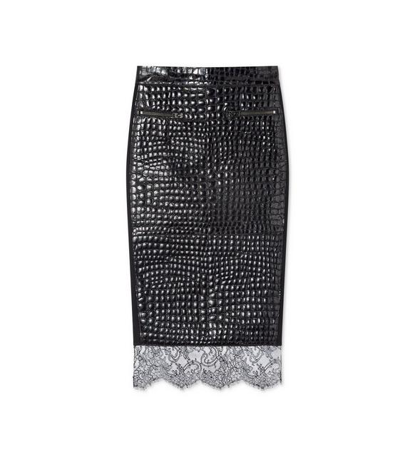 CROCO EMBOSSED LEATHER PENCIL SKIRT A fullsize