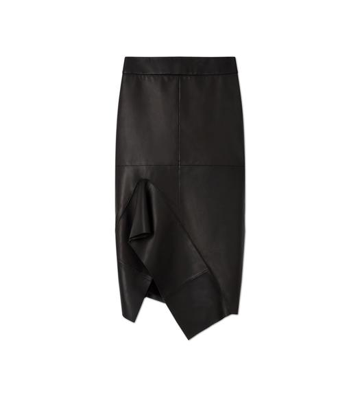 LEATHER FLUTED PENCIL SKIRT