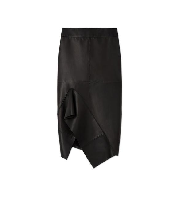 LEATHER FLUTED PENCIL SKIRT A fullsize