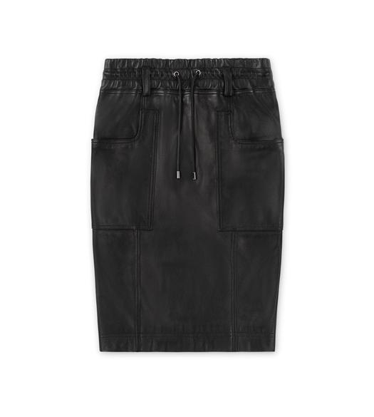 PLONGE LEATHER DRAWSTRING SKIRT