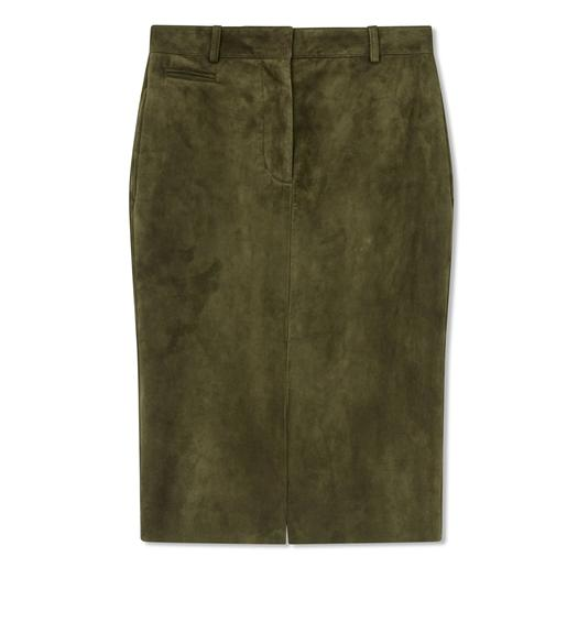 CASHMERE SUEDE PENCIL SKIRT