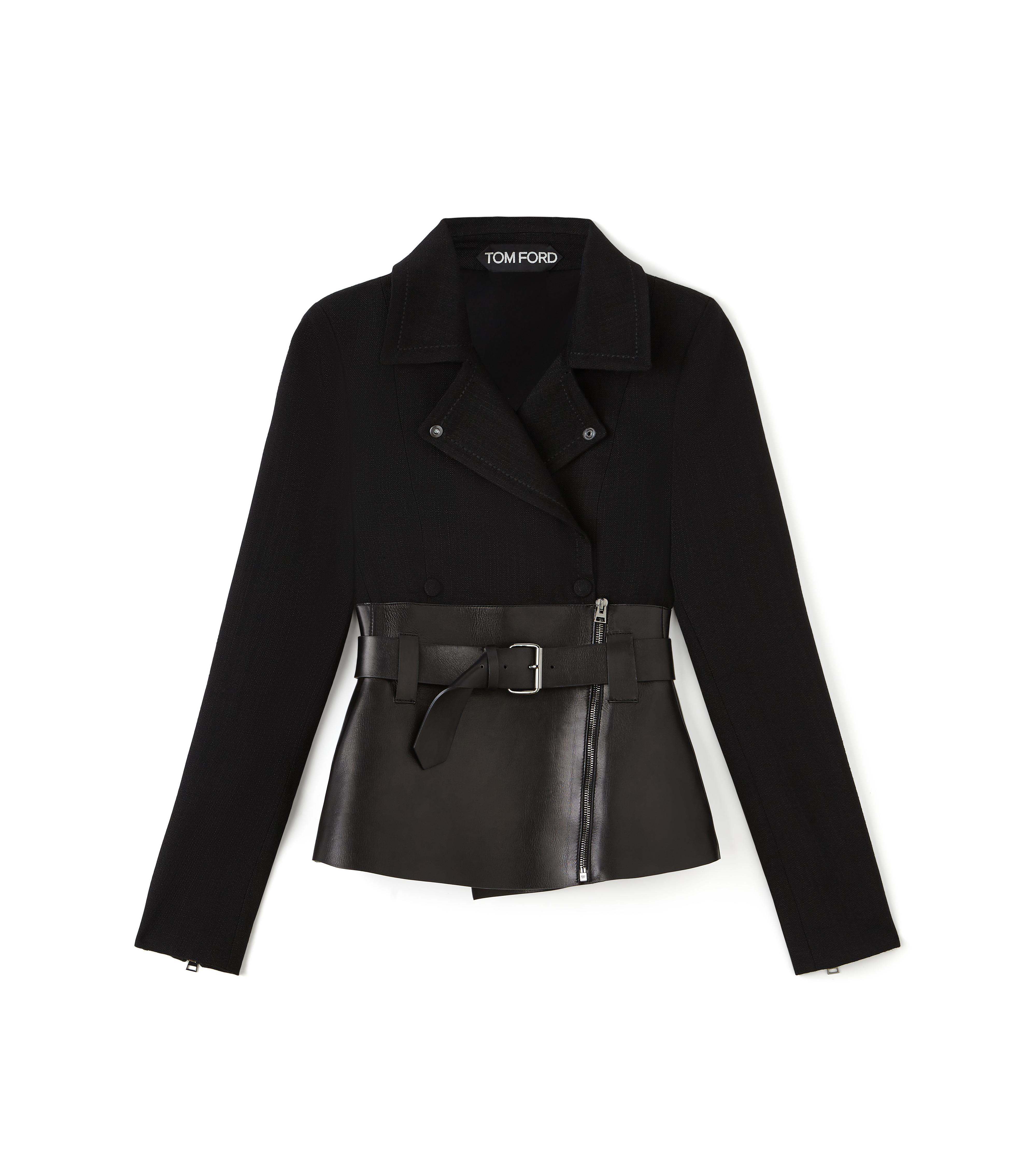 BELTED BIKER JACKET WITH LEATHER INSERT A thumbnail