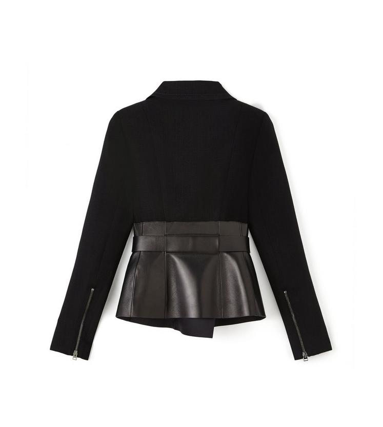 BELTED BIKER JACKET WITH LEATHER INSERT B fullsize