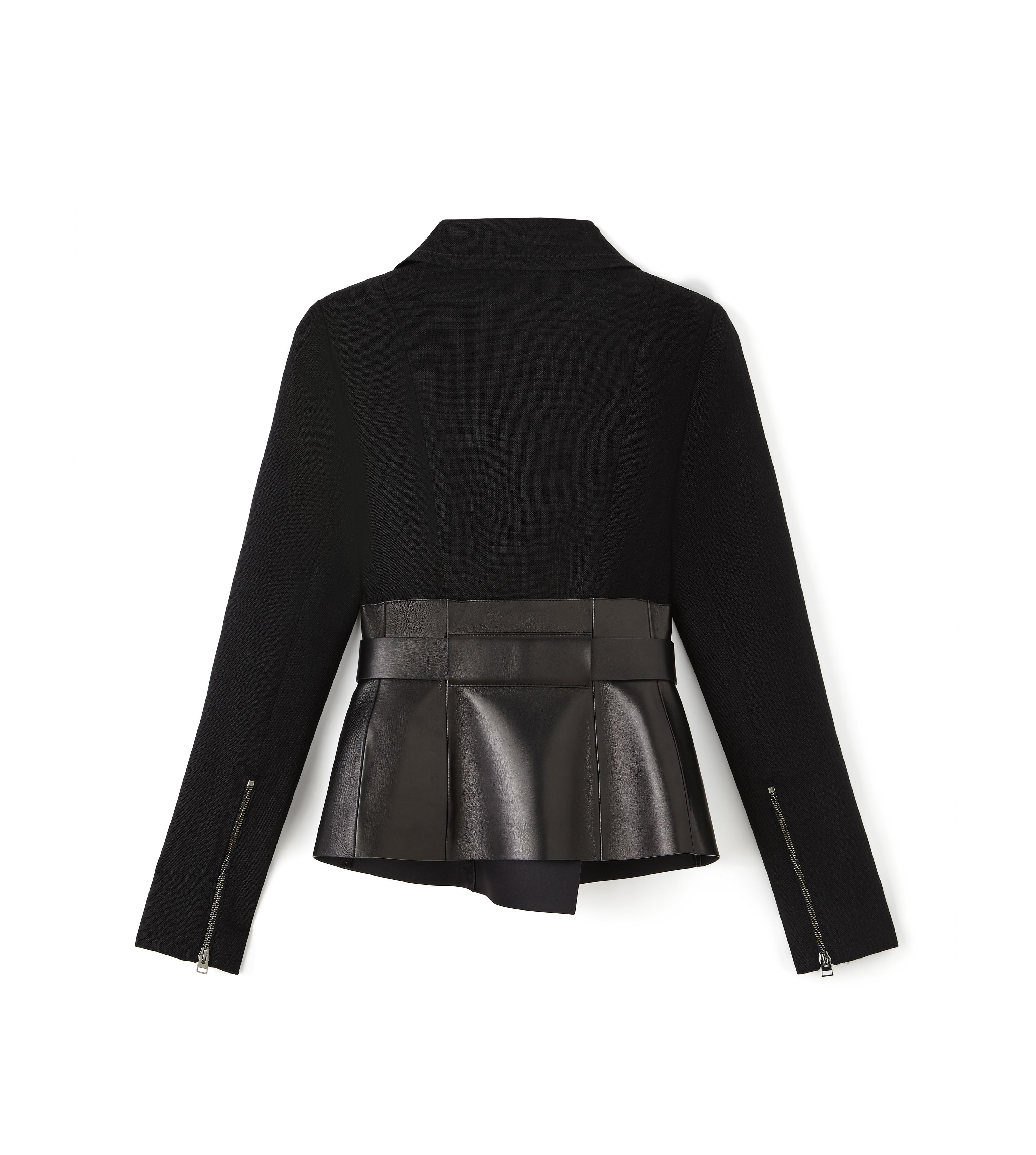 BELTED BIKER JACKET WITH LEATHER INSERT B thumbnail