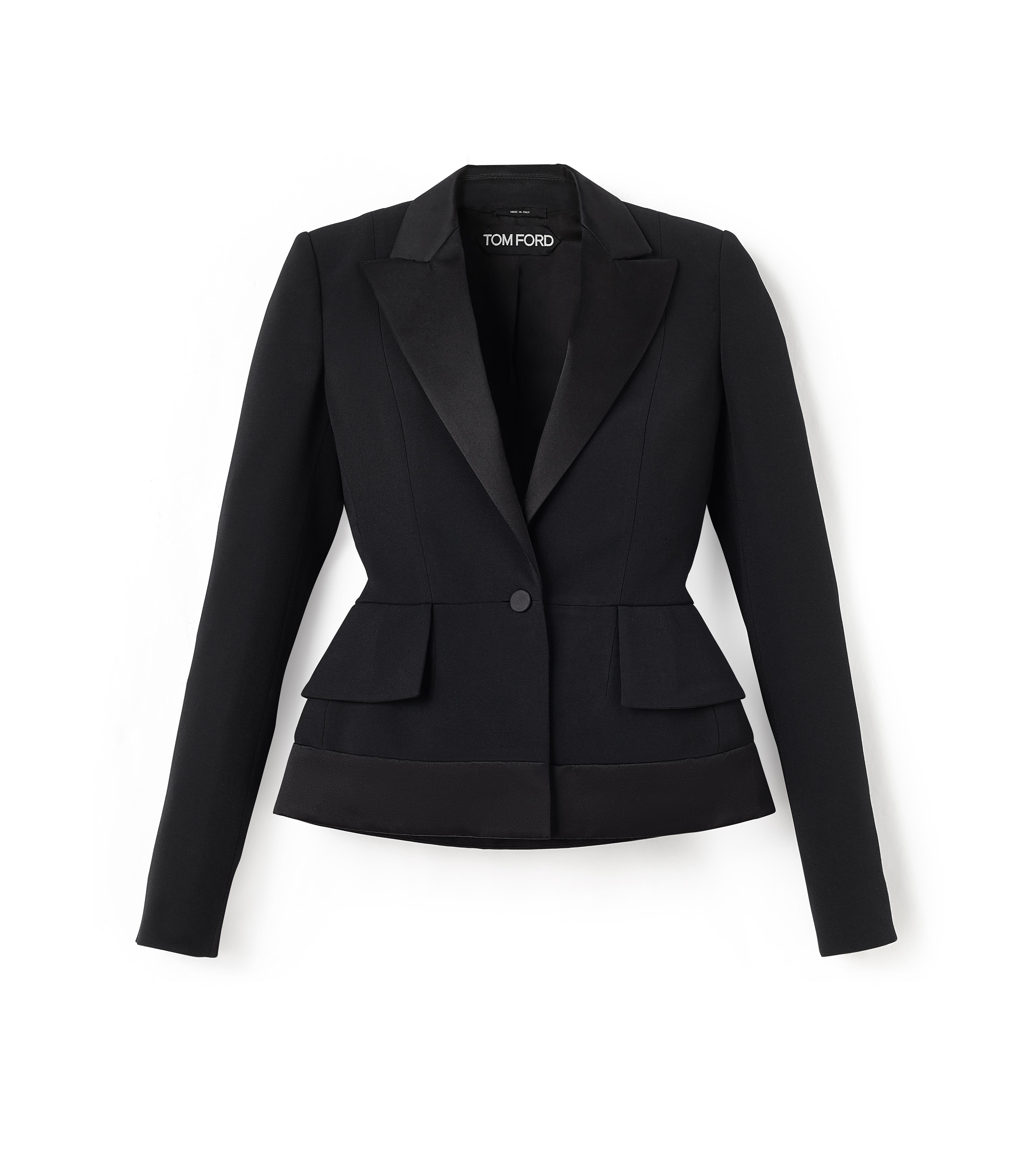 SINGLE BREASTED TUXEDO JACKET WITH PADDED HIPS A thumbnail