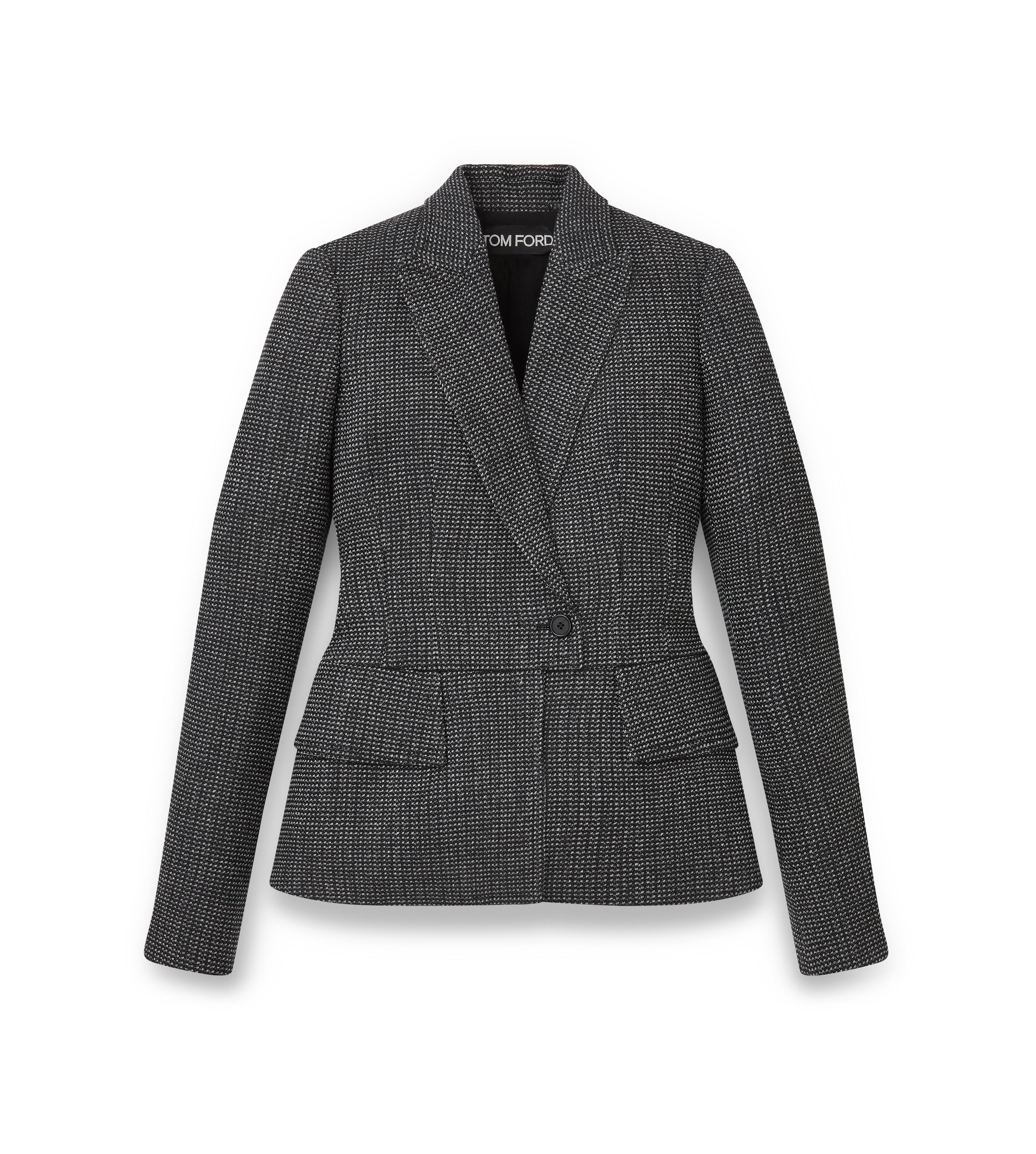 WOOL FITTED PEAK LAPEL JACKET A thumbnail