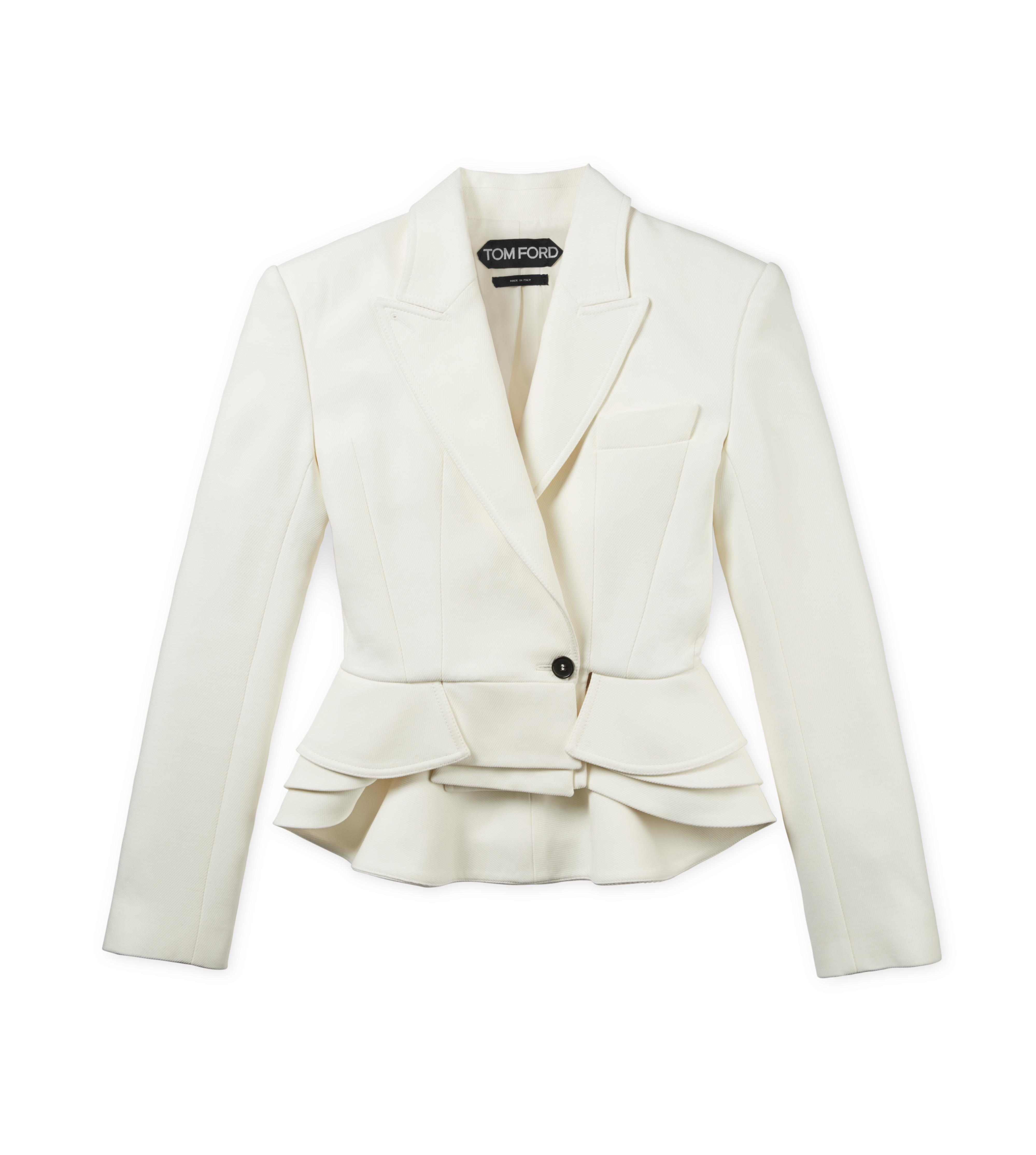 CROPPED PEAK LAPEL WOOL JACKET WITH PEPLUM A thumbnail
