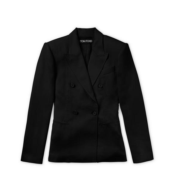 FITTED DOUBLE BREASTED VISCOSE JACKET A fullsize
