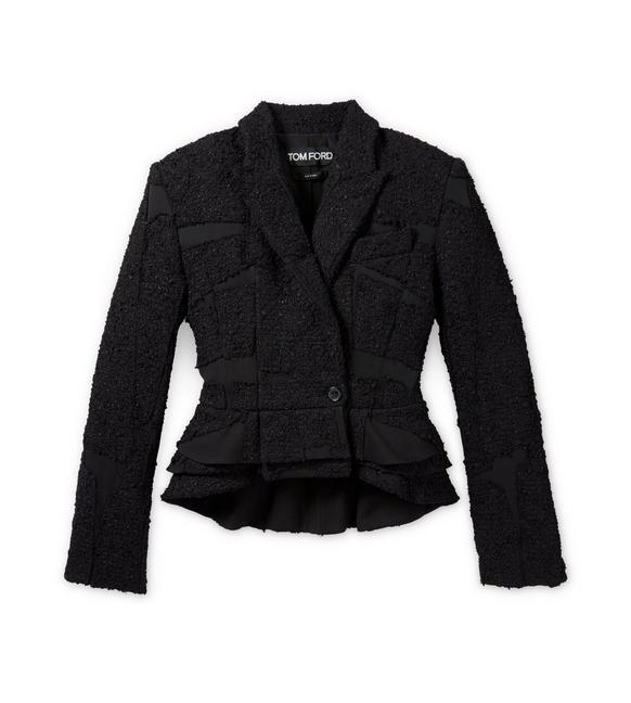 DOUBLE BREASTED TWEED PATCHWORK PEPLUM JACKET A fullsize