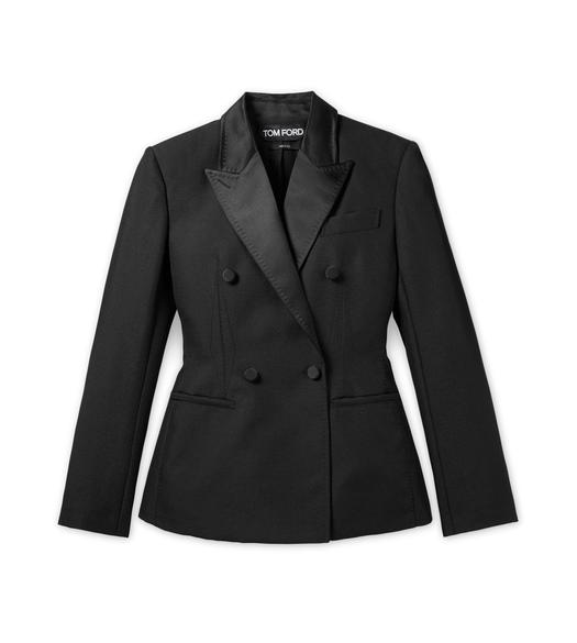 FITTED DOUBLE BREASTED GRAIN DE POUDRE TUXEDO JACKET