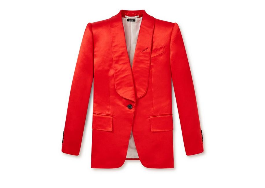 Satin Shawl Lapel Jacket in Red
