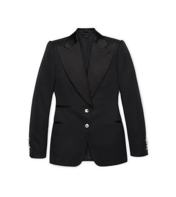 WOOL TUXEDO JACKET WITH CRYSTAL BUTTONS A fullsize