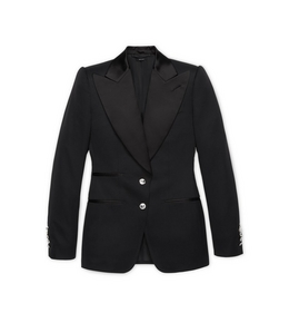 WOOL TUXEDO JACKET WITH CRYSTAL BUTTONS