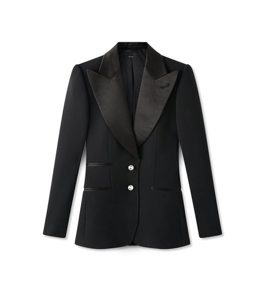 DOUBLE SPLITTABLE WOOL TUXEDO JACKET WITH CRYSTAL BUTTONS