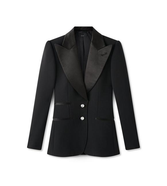 DOUBLE SPLITTABLE WOOL TUXEDO JACKET WITH CRYSTAL BUTTONS A fullsize