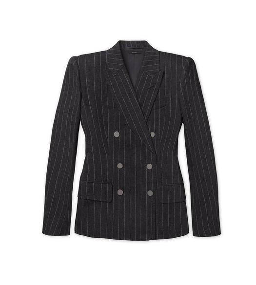 FLANNEL PINSTRIPE DOUBLE BREASTED TAILORED JACKET