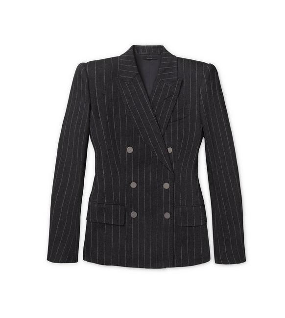 FLANNEL PINSTRIPE DOUBLE BREASTED TAILORED JACKET A fullsize